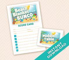 Beach Blanket Bunco  Printable Summer Theme Bunco by LLPapergoods