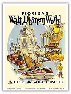 Florida's Walt Disney World - First Year of Operation - Delta Air Lines - Vintage Airline Travel Poster by Daniel C. Sweeney - Master Art Print - x Walt Disney World, Mundo Walt Disney, Disney World Castle, Arte Disney, Disney Magic, Disney Disney, Disney Stuff, Vintage Disney Posters, Retro Disney