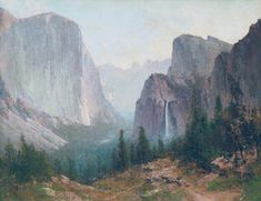 """Thomas Hill - """"Yosemite Valley"""" offered by California Art Company, LLC on InCollect Hudson River School, San Francisco Art, California Art, Yosemite Valley, White Mountains, Mountain Paintings, Landscape Paintings, Acrylic Paintings, Nature Photos"""