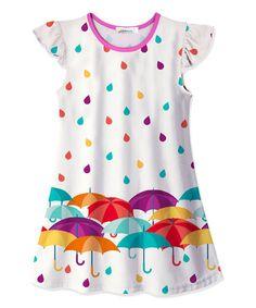 Look what I found on #zulily! White Umbrella & Raindrop Swing Dress - Toddler, Kids & Girls #zulilyfinds