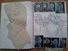 Fashion Design Sketchbook - fashion student work with fashion sketches, fabric manipulation & draping; fashion portfolio // Hannah Culley