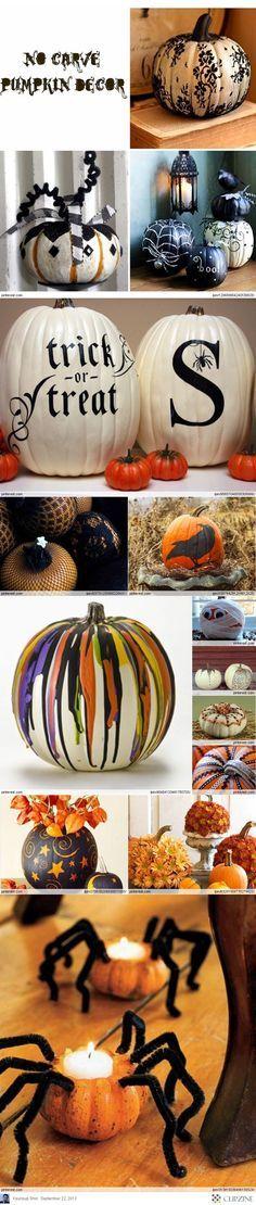 DIY No-Carve Pumpkin Ideas Pumpkin Crafts, Pumpkin Ideas, Fall Crafts, Holiday Crafts, Holiday Fun, Pumpkin Designs, Fete Halloween, Holidays Halloween, Halloween Crafts