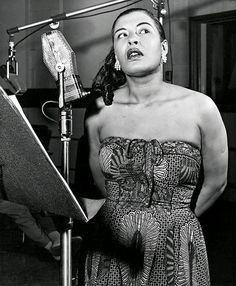 """Photographed by Phil Stern. Day in Jazz: Vocalist Billie Holiday records """"I'll Never Be The Same"""" on June 1937 with a band led by pianist Teddy Wilson, including tenor saxophonist Lester Young. Billie Holiday, Jazz Artists, Jazz Musicians, Blues Artists, Music Artists, Lady Sings The Blues, Bless The Child, Jazz Blues, Blues Music"""