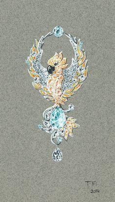 Tony FURION : Clip '' Phoenix '' gouaché joaillerie jewellery rendering