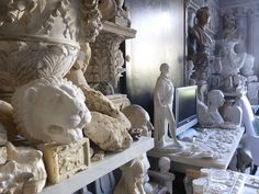 """"""" laden with extraordinary architectural fragments from which he makes amazing casts in plaster of Paris."""" The fabulous home of Peter Hone"""