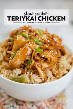 This delicious Crock Pot Teriyaki Chicken recipe has all the convenience of your favorite takeout that's easily made at home in your slow cooker. via @yellowblissroad