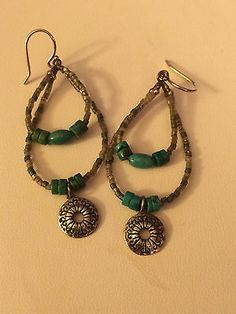 Silpada-W2363-Sterling-Silver-Turquoise-Seed-Bead-Earrings-HARD-TO-FIND