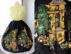 1950's Circle Skirt With Adorable Street Market by InRetrospect208