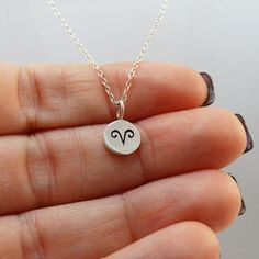 Tiny Aries Sign Charm Necklace - Sterling Silver