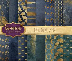 Golden Zen Digital Paper gold paint brush by OriginsDigitalCurio