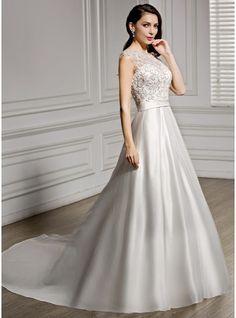 Corte A/Princesa Escote redondo Cola capilla Satén Encaje Vestido de novia con Bordado Lentejuelas