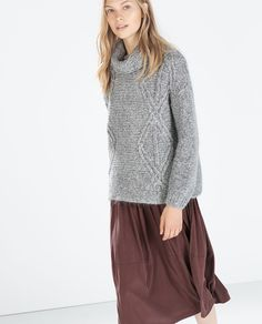 Image 3 of HIGH-NECK, CABLE KNIT SWEATER from Zara
