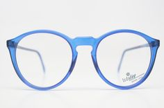 Vintage Eye Glasses Blue Transparent Retro P3 shaped 1980's vintage eyewear NOS Deadstock. $88.00, via Etsy.