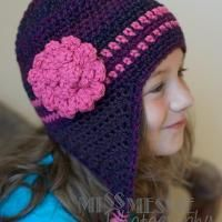 Pattern for Purple Flowered Earflap Hat - via @Craftsy