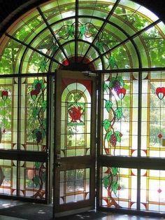 Beautiful stained glass doors to McLaren Vale Winery in South Australia ~ Stained Glass Door, Leaded Glass, Mosaic Glass, Glass Doors, Window Glass, Bar Deco, Unique Doors, Doorway, Gates