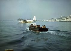 Off on another sortie, - The crew of Sunderland RB-D (no 10 RAAF Sqn.) in the duty pinnace on their way to their 'ship' in Plymouth harbour, the RAF station being known as Mount Batten. Air Force Aircraft, Ww2 Aircraft, Military Aircraft, Aviation Image, Aviation Art, Chrysler Building, Southampton, Short Sunderland, Plymouth England