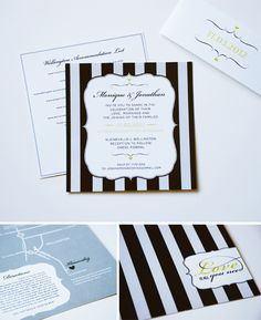 sophisticated striped invitation