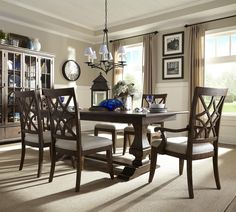Trisha Yearwood Home Trestle Table and Chairs Set by Trisha Yearwood Home Collection by Klaussner