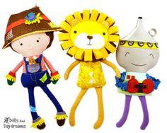 Wizard of Oz Sewing Pattern PDF DIY e book -  Scarecrow Doll, Lion Softie, Tin Man Toy - Set 2