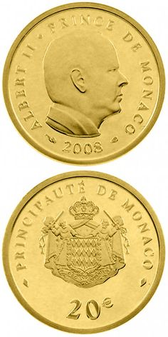 N♡T.20 euro: 50th birthday of Prince Albert II.Country:	Monaco  Mintage year:	2008 Face value:	20 euro Diameter:	21.00 mm Weight:	6.00 g Alloy:	Gold Quality:	Proof Mintage:	3,000 pc proof