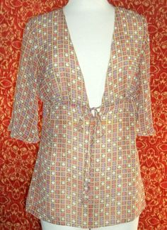 STYLE&CO beige polka dot polyester short sleeve bohemian blouse 10 (T120DE5G) #Styleco #bohemian #Casual