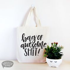 Bag of Awesome Shit Cotton Canvas Tote Bag, Funny Tote Bag, Shopaholic Bag, Birthday Gift, Hand Lettered, Craft Tote, Quote Tote Bag