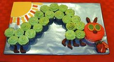 Gives tips on how to swirl the frosting colors to resemble the colors in the book. The Hungry Caterpillar