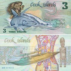 Cook Islands 3 Dollars Front: Nude Ina riding on a shark; Back: Fishing canoe; God of Te-Rongo; Signature: Thomas Davis (Minister of Finance). Cook Islands, Fiji Islands, Islas Cook, Best Bank, Money Notes, World Coins, Grafik Design, Cool Stuff, Dollar Dollar