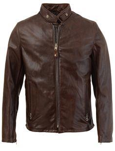 Casual Jacket Jacket 654 Racer Vintage Cowhide Leather Brown Men B1fqnd