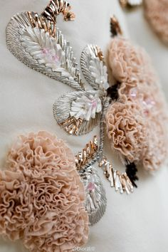 Embroidery by Lesage for Dior Couture Tambour Embroidery, Couture Embroidery, Embroidery Fashion, Ribbon Embroidery, Beaded Embroidery, Embroidery Patterns, Couture Embellishment, Couture Details, Fashion Details