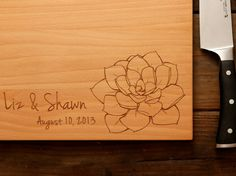 Personalized Succulent Engraved Wood Cutting Board by woodink