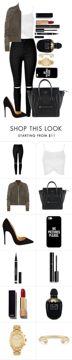 """Untitled #1431"" by fabianarveloc ❤ liked on Polyvore featuring Topshop, Rick Owens, Christian Louboutin, Casetify, Chanel, Alexander McQueen, Michael Kors and Jennifer Fisher"