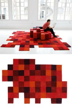 Wool #rug DO-LO-REZ by Nanimarquina | #design Ron Arad #red