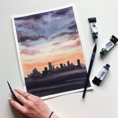 The place to buy and sell everything that is handmade - Watercolor sunset in New York Original watercolor painting Etsy - Watercolor Sunset, Watercolor Walls, Watercolor Landscape, Watercolour Painting, Painting & Drawing, Art Sketches, Art Drawings, Aesthetic Painting, Art Inspo