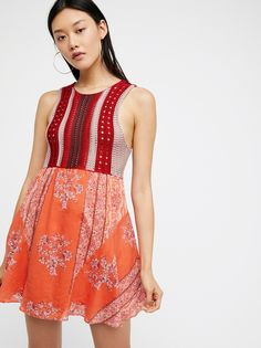Katie's Mini Dress | Fit and flare mini dress featuring a mixed design with a woven bodice and printed contrast skirt.    * Lined