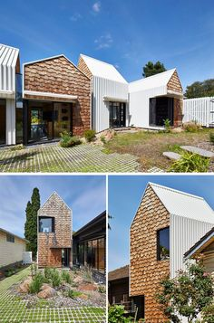 13 Examples Of Modern Houses With Wooden Shingles // This Australian house is partially covered in uneven wooden shingles.