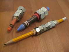 Weighted pencils can be beneficial for students who do not press hard enough when writing or for students who have poor body awareness and need additional proprioceptive input to increase awareness of their hand. - Never thought of this, could help JJ!