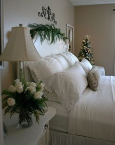 Just a touch of Christmas decor to accent this beautifully Shabby Chic room.