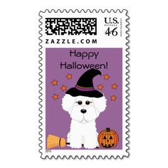 Happy Halloween! Bichon Frise Witch Halloween Real U.S. Postage Stamps #halloweenstamps #halloweenpostage #bichonfrise #bichons #witch