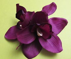 Hawaiian Dark Purple Two Orchids hair flower clip 5 by olgadesigns - Etsy. Purple - such a nice girly color!