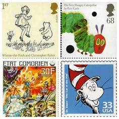 Literary stamps. Pinning for the Winnie the Pooh one because it would complete my life.