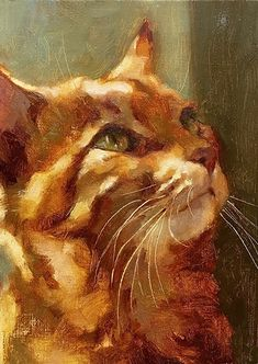 cat painting Katya Minkina - Portfolio of Works: Pets/Commissions Watercolor Cat, Watercolor Animals, Gato Animal, Orange Tabby Cats, Arte Pop, Ginger Cats, Cat Drawing, Fine Art Gallery, Animal Paintings