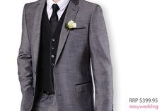 This charcoal grey wedding suit with black trim from Bossini Menswear is an ideal choice for grooms planning a contemporary themed wedding