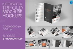 Photo Realistic Trifold Mockups by Illusiongraphic on Creative Market