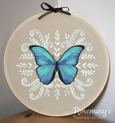 "This beautiful butterfly is one of my favourites in our shop. Morpho Butterfly Embroidery Hoop with Optional Fabric Colour Choice. ""morpho embroidery Morpho Butterfly Embroidery Hoop with Optional Fabric Colour Choice Butterfly Embroidery, Hand Embroidery Stitches, Embroidery Hoop Art, Hand Embroidery Designs, Cross Stitch Embroidery, Machine Embroidery, Cross Stitch Cards, Etsy Embroidery, Hungarian Embroidery"