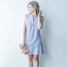 34 Inspiring Stripped Dress Outfit Ideas For Summertime Modest Dresses, Cute Dresses, Casual Dresses, Skirt Fashion, Fashion Dresses, Vestido Casual, Stripped Dress, Cotton Dresses, Dress Patterns