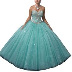 06b8a3b8997 Women s Turquoise Green Beading Sweetheart Ball Gown Long Quinceanera Dress  US 2 Green