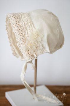 Newborn girl bonnet by JustTheRightKnit on Etsy, $28.00