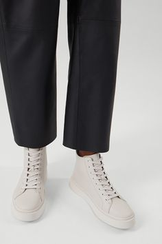 LEATHER HIGH TOP TRAINERS - Off-white - Shoes - COS SE Long Puffer Coat, Long Wool Coat, Off White Shoes, Leather Loafer Shoes, Leather High Tops, Jumpers For Women, Cotton Lace, High Collar, High Top Sneakers