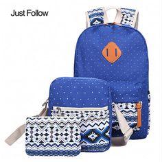 86656c1617ec 2018 3pcs Autumn Winter Women Backpacks Set Canvas Printing Schoolbag For  Teenagers Girls School bags Backpacks